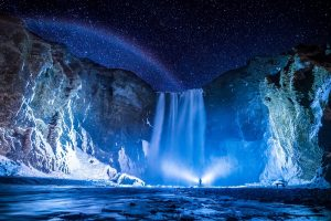 flashlight at night waterfalls